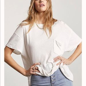 Free People | Lucky Tee Distressed White Size M
